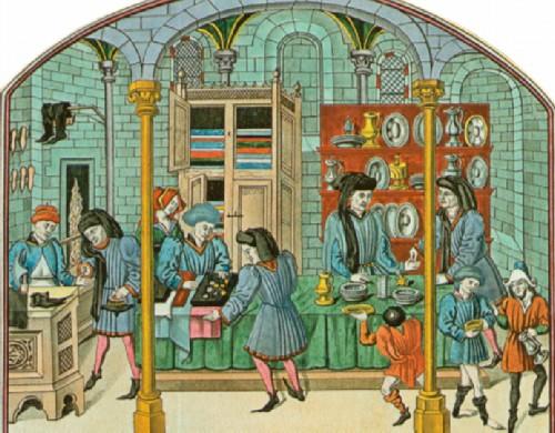 Средневековый магазин. Франция. XV в.