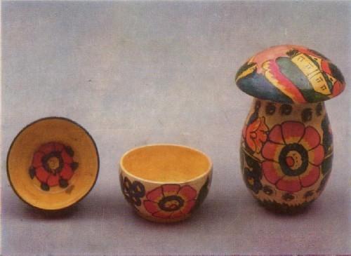 А. А. Бузденкова. Гриб-копилка, чашки. 1980-е гг.