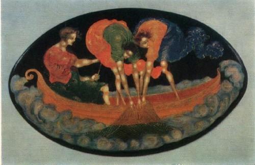 Голиков. Шкатулка Рыболовы. 1925 г