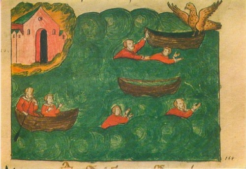 Кораблекрушение. Миниатюра из рукописи XVII в.