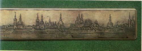 М. П. Чирков, Линейка с видом панорамы Великого Устюга. Деталь