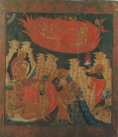 Огненное восхождение Ильи Пророка Икона Начало XVIII в. ГМПИ Фрагмент иконы