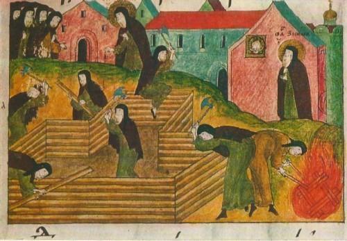 Строительные работы. Миниатюра из рукописи XVII в.
