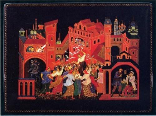 Ходов В.М. Пос. Палех, Ивановская обл. Шкатулка «Красные косынки» 1977