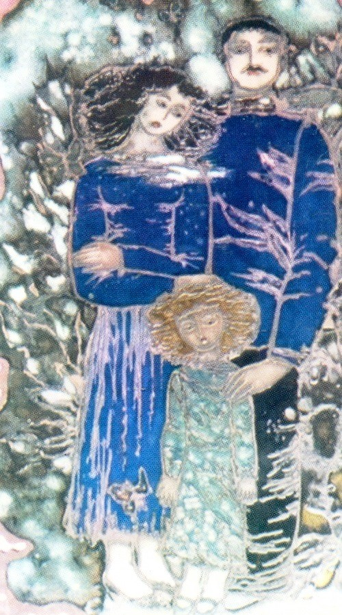 В саду. Перегородчатая эмаль, роспись, гравировка. 1985. Художник Михаил Цалкаламанидзе