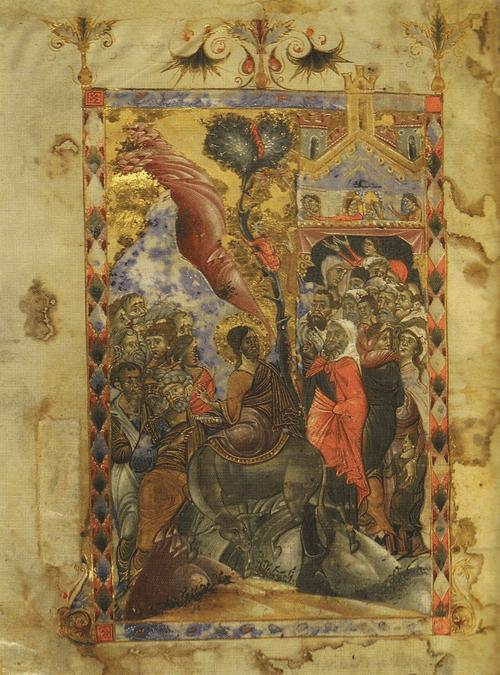 Евангелие 1287 г. Вход в Иерусалим