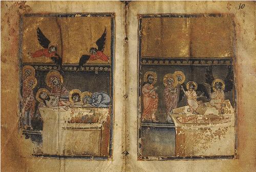 Евангелие 1302 г. Художник Момик. Оплакивание. Три Марии у гроба Господня