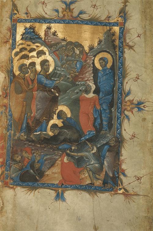 Евангелие 3-й четверти XIII в. Воскрешение Лазаря