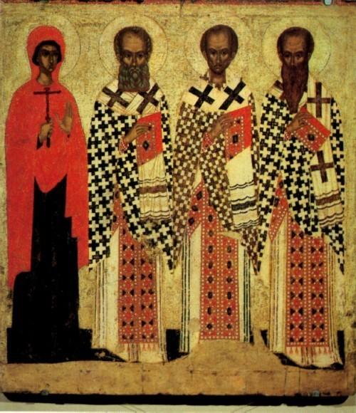 Икона избранные святые Параскева Григорий Богослов Иоанн Златоуст Василий Великий