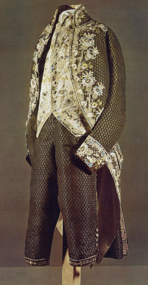 Костюм мужской парадный. Кафтан и штаны из черно-коричневого бархата