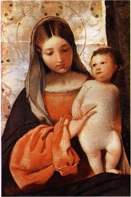 Мадонна с Младенцем, Смятым Антонием и Святым Рохом (фрагмент)