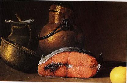 Натюрморт с семгой, лимоном и тремя сосудами