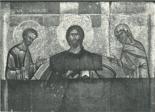 Спас на престоле с предстоящими Иоакимом и Анной. ХV в. Деталь