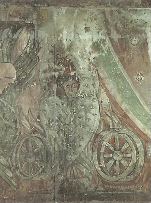 Церковь св. Степаноса. VII в. Роспись в алтарной апсиде — тетраморф из Видения пророка Иезекииля.
