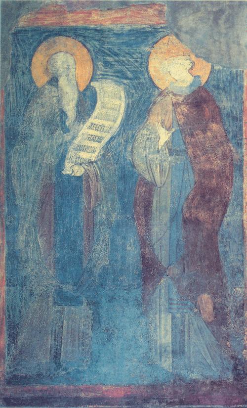 Андрей Рублев. Беседа Варлаама и царевича Иоасафа. Около 1417 Фреска юго-восточного столпа, западная сторона