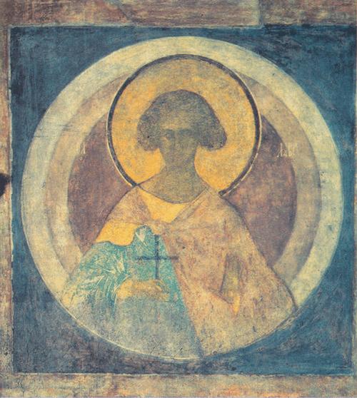 Андрей Рублев. Лавр. Около 1417 Фреска юго-восточного столпа, западная сторона