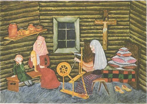 Аушра Вайткевичюте (13 лет). В старой деревне. Акварель.