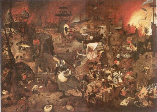 Безумная Грета. Ок. 1562 Брейгель изобразил традиционный персонаж как воплощение воинствующей жадности. Она несется в разверзнутую пасть Ада, демоны поднимают подъемный мост, и нам остается только гадать, ищет ли Безумная Грета укромное местечко для своей добычи или собирается завоевать Ад.
