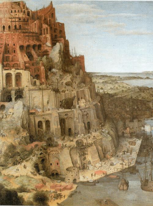 Вавилонская башня. 1563 Брейгель поместил строительную площадку на морское побережье. Ко второй половине XVI века Антверпен считался первым по значению в Европе центром торговли - именно благодаря удачному расположению на морс и у реки, являющимися главными водными артериями Нидерландов. Художник наделил библейское предание множеством реалистических черт. среди которых и панорама города