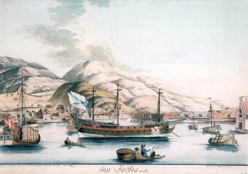 Вид Бергена. 1801 Акварель