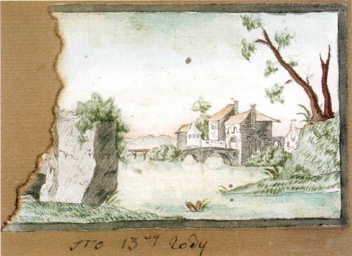 Вилла на озере и обгорелый край бумаги. 1796