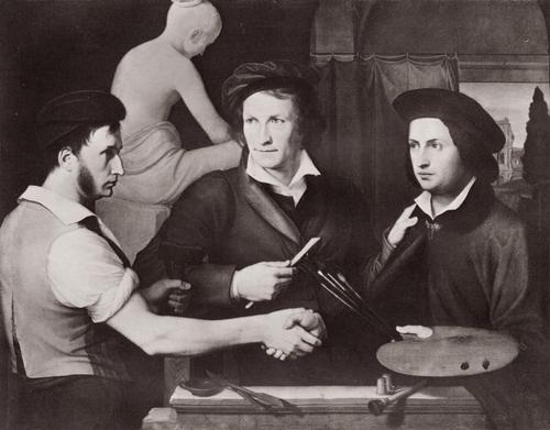 Вильгельм Шадов Автопортрет с Рудольфом Шадовом и Бертелем Торвальдсеном. 1815
