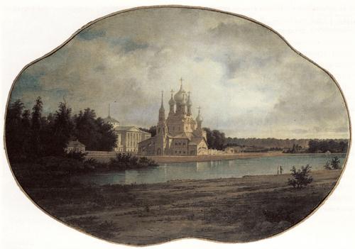 В. Е. Раев. Останкино. Вид усадьбы со стороны пруда. 1858