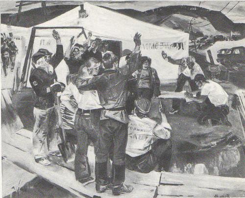 В. Жемерикин (Горький). Летучка. Из цикла «Мы строим на БАМе». Масло. 1975.