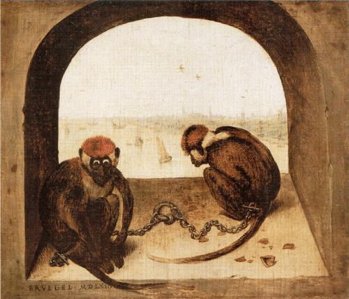 Две обезьяны. 1562 Значение двух прикованных обезьян, сидящих на корточках с видом полного отчаяния, неясно. В христианской иконографии обезьяны обычно считались символом глупости или же таких пороков, как тщеславие и скупость. Скорлупа от орехов вызывает в памяти нидерландскую поговорку «судиться из-за фундука». В таком случае обезьянки пожертвовали свободой ради чего-то мелкого и пустячного. На заднем плане вид Антверпена с моря. В 1563 году Брейгель покинул Антверпен и поселился в Брюсселе.