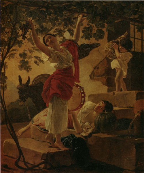 Девушка, собирающая виноград в окрестностях Неаполя. 1827