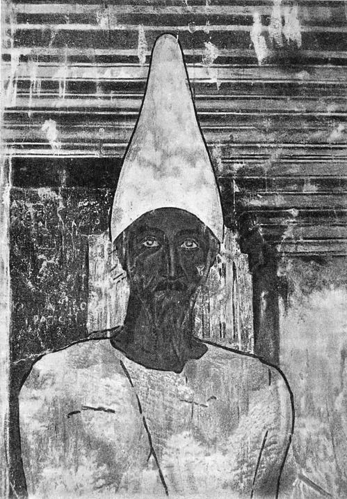 Деталь росписи храма пальмирских богов в Дура Европос. Вид стенописи до повреждеиия