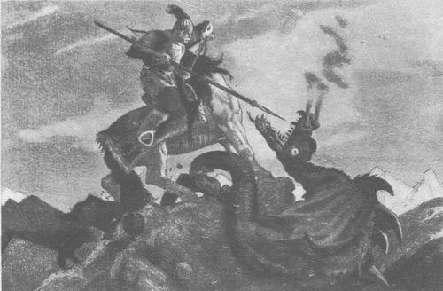 Е. Кибрик. Иллюстрации к сборнику «Героические былины». Литография. 1948—1950
