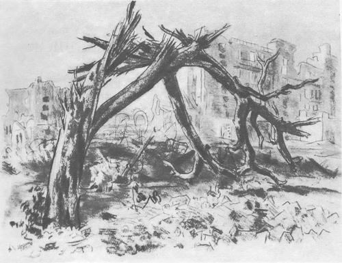 Е. Кибрик. Рисунки из серии «Сталинград. 1943 год». Карандаш.