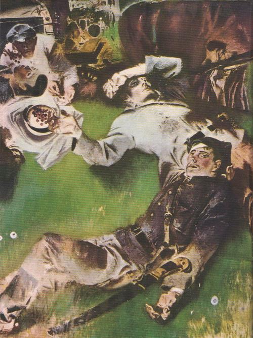 Е. Моисеенко. Черешня. Фрагмент. Масло. 1969.
