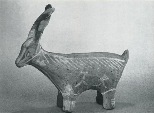 """Игрушка """"Козлик. Задымленная керамика, лощение, белая ангобная роспись. Лакцы, с. Балхар. 1960"""