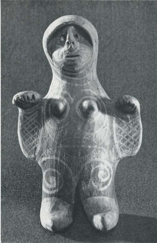 """Игрушка """"Кукла. Задымленная керамика, лощение, белая ангобная роспись. Лакцы, с. Балхар. 1966"""