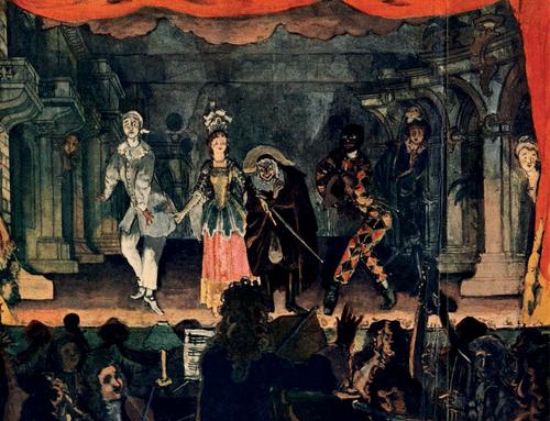 Итальянская комедия. Любовная записка». 1905 год. Бумага, гуашь. 47×65 см.