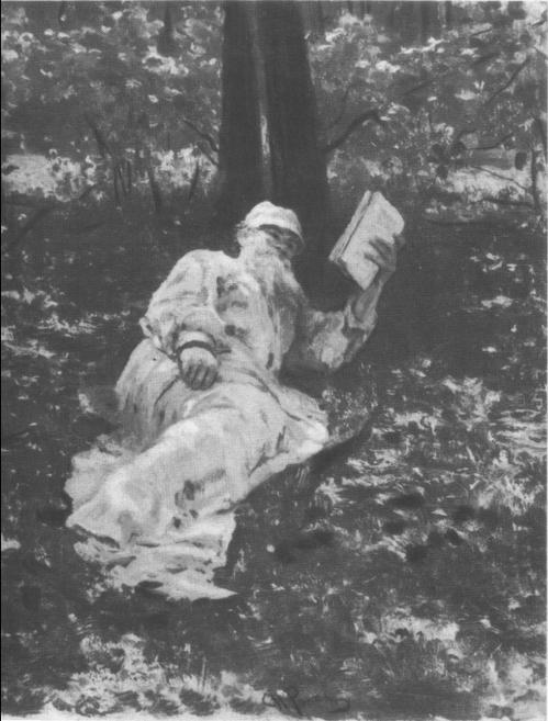 И. Репин. Лев Николаевич Толстой на отдыхе в лесу. Масло, 1891.