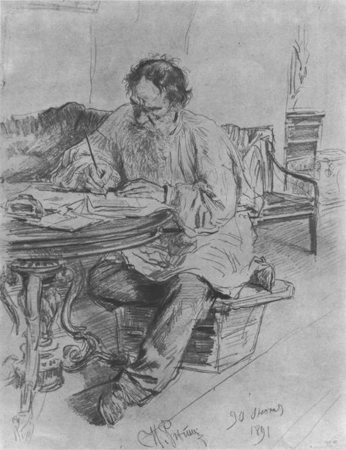 И. Репин. Л. Н. Толстой за работой у круглого стола. Карандаш, 1891.