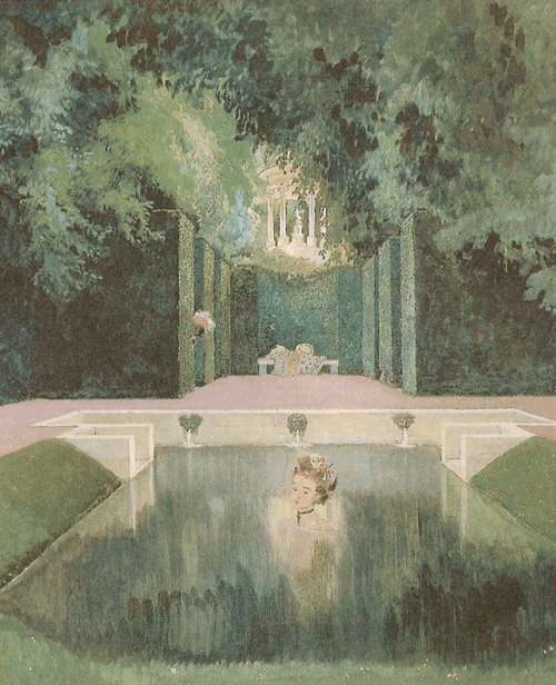 Купальня маркизы. 1906 год. Бумага на картоне, гуашь. 51 х 47 см. Государственная Третьяковская галерея, Москва