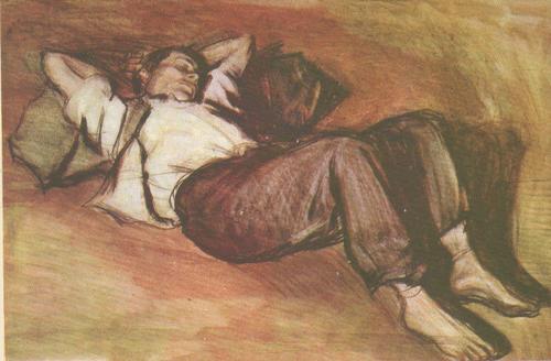 К. Баба. Спящий ребенок. Акварель, карандаш. 1954.