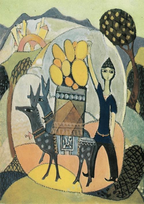 Мальчик с осликами. 1972. Бумага, темпера. 25 х 16