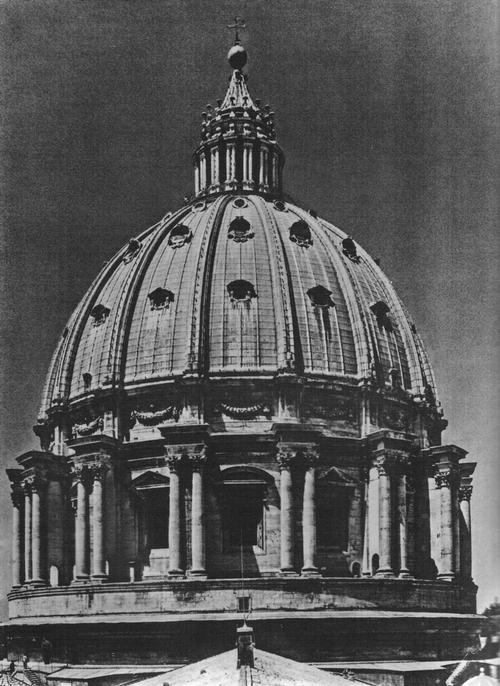 Микеланджело и Джакомо делла Порта. Купол собора св. Петра в Риме. 1555—1564 (барабан), 1588—1593 (купол с фонарем).