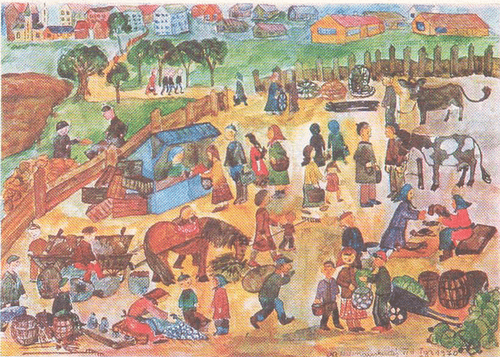 Ниёле Калинаускайте (12 лет). Деревенская ярмарка. Акварель.