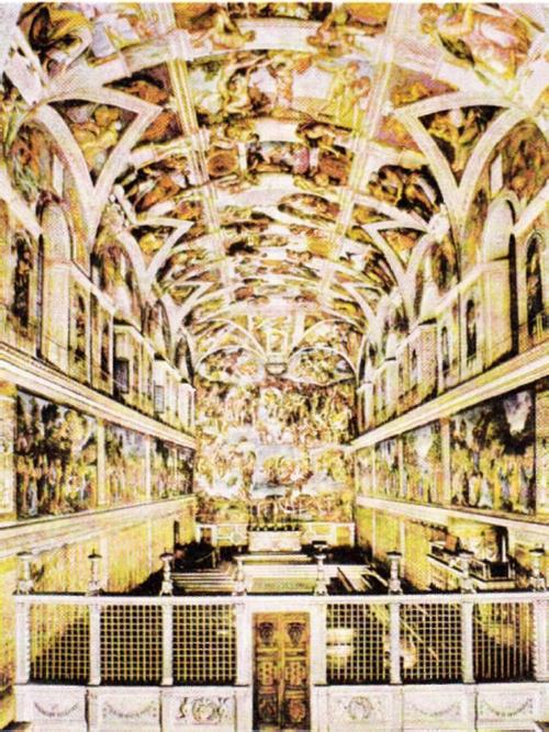 Общий вид фресковой росписи плафона Сикстинской капеллы. 1508—1512. На заднем плане фреска «Страшный суд». 1535—1541.
