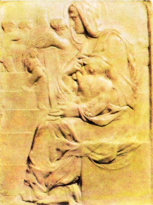 Первая скульптурная работа Микеланджело. Рельеф Мадонна у лестницы. Около 1491