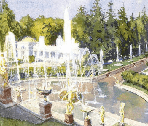 Петергоф. Главный фонтан. 1942 год. Холст, масло
