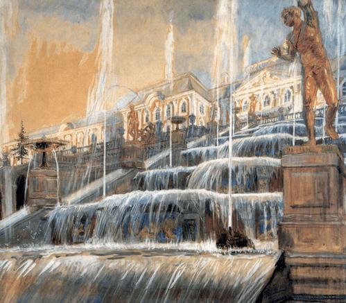 Петергоф. Нижний фонтан у каскада. 1942 год. Холст, масло