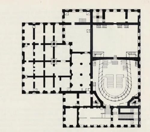 Петровский ьеатр в Москве. План первого этажа. Архит Х. Розберг. Из альбома Маддокса 1797 г