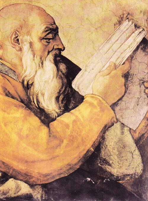 Плафон Сикстинской капеллы. Пророк Захария. Деталь.